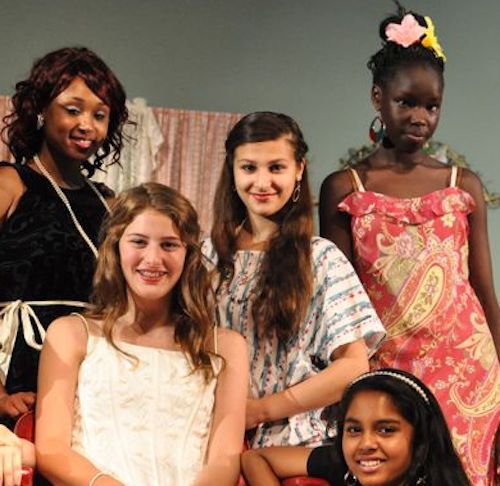 Young women in costume ready to perform in a Shakespeare Comes To 716 stage performance