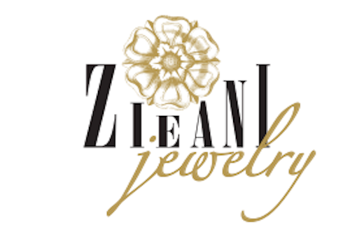 The Zieani Jewelry logo, a combination of a flower and typography in black and gold