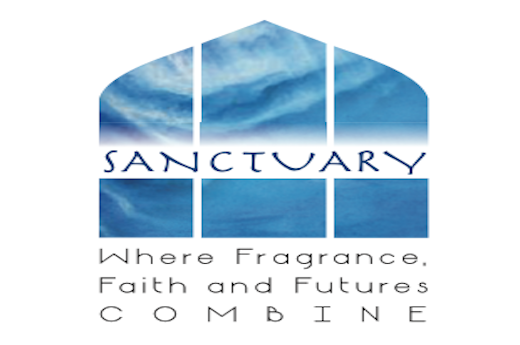 The Sanctuary Soaps & Fragrances logo, featuring blue watercolor