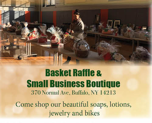 An advertisement for the Basket Raffle and Small Business Boutique