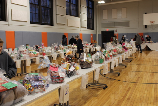 The full selection of baskets at Peace of the City's fundraiser